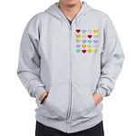 Rainbow Hearts Pattern Zip Hoodie