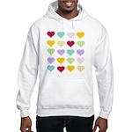 Rainbow Hearts Pattern Hooded Sweatshirt