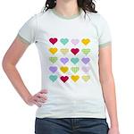 Rainbow Hearts Pattern Jr. Ringer T-Shirt