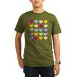Rainbow Hearts Pattern Organic Men's T-Shirt (dark