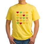 Rainbow Hearts Pattern Yellow T-Shirt