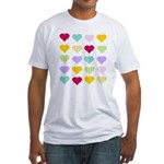 Rainbow Hearts Pattern Fitted T-Shirt