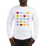 Rainbow Hearts Pattern Long Sleeve T-Shirt