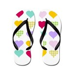 Rainbow Hearts Pattern Flip Flops