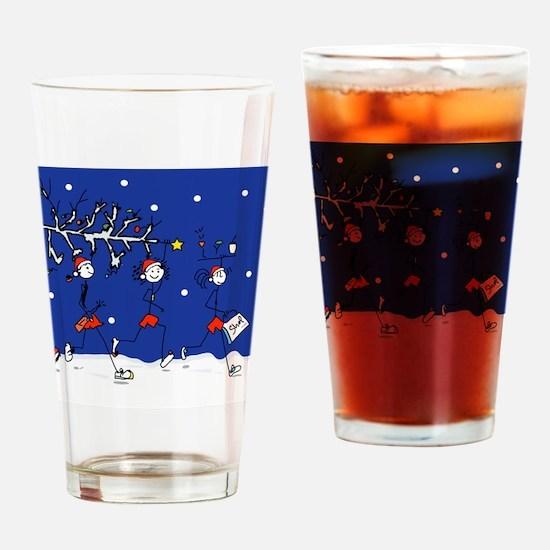 Christmas Runners Drinking Glass