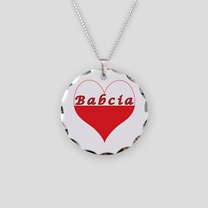 Babcia Polish Heart Necklace Circle Charm