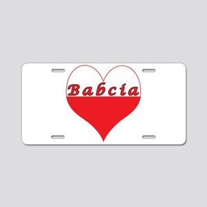 Babcia Polish Heart Aluminum License Plate