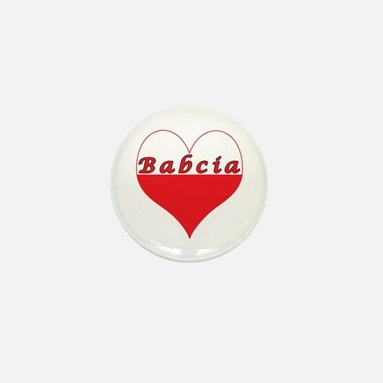 Babcia Polish Heart Mini Button