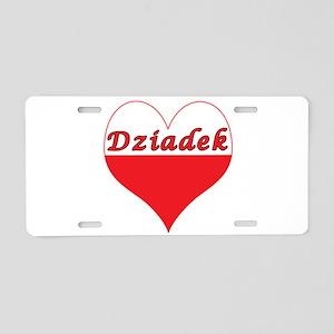 Dziadek Polish Heart Aluminum License Plate