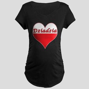 Dziadzia Polish Heart Maternity Dark T-Shirt