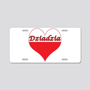 Dziadzia Polish Heart Aluminum License Plate
