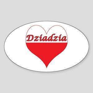 Dziadzia Polish Heart Sticker (Oval)