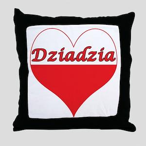 Dziadzia Polish Heart Throw Pillow