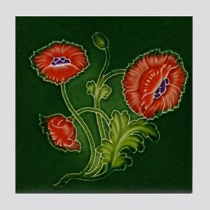 Art Nouveau Red Poppy Tile Coaster