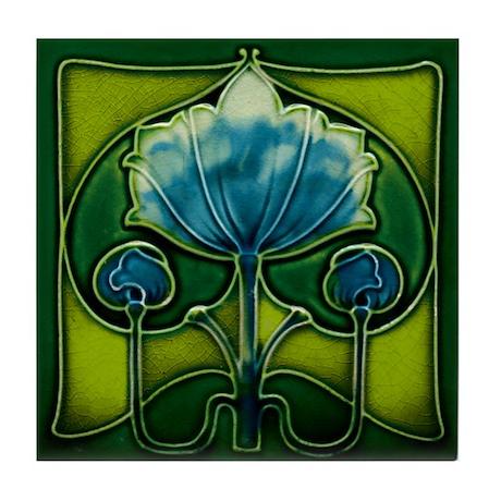 Art Nouveau Blue Flower Tile Coaster