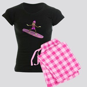 Sock Monkey Surfer Girl Women's Dark Pajamas