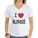 I heart blondie Women's V-Neck T-Shirt