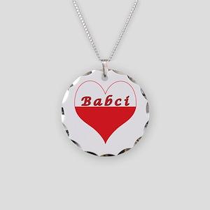 Babci Polish Heart Necklace Circle Charm