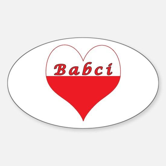 Babci Polish Heart Sticker (Oval)