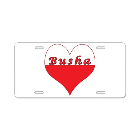 Busha Polish Heart Aluminum License Plate
