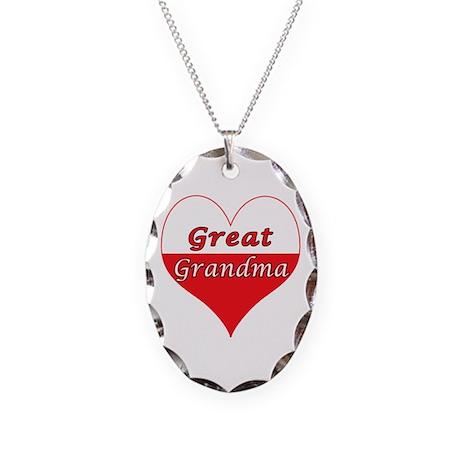 Great Grandma Polish Heart Necklace Oval Charm