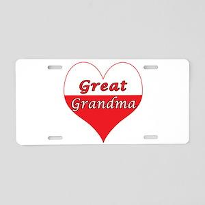 Great Grandma Polish Heart Aluminum License Plate