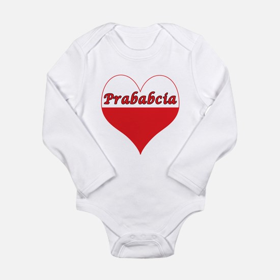 Prababcia Polish Heart Long Sleeve Infant Bodysuit