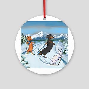 Ski Dachshunds Ornament (Round)
