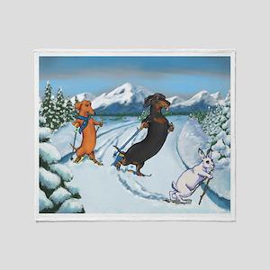 Ski Dachshunds Throw Blanket