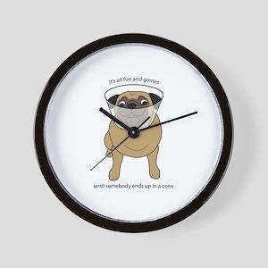 Conehead Fawn Pug Wall Clock