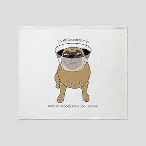 Conehead Fawn Pug Throw Blanket
