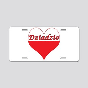 Dziadzio Polish Heart Aluminum License Plate