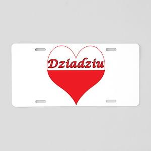 Dziadziu Polish Heart Aluminum License Plate