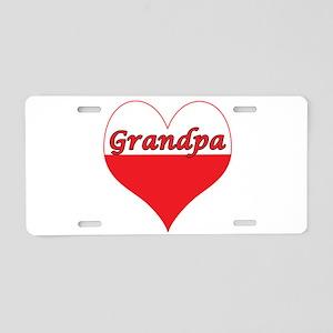 Grandpa Polish Heart Aluminum License Plate