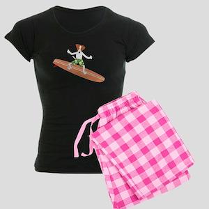 Jack Russell Terrier Surfer Women's Dark Pajamas