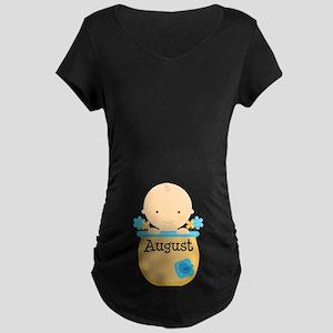 August Baby Boy Maternity Dark T-Shirt