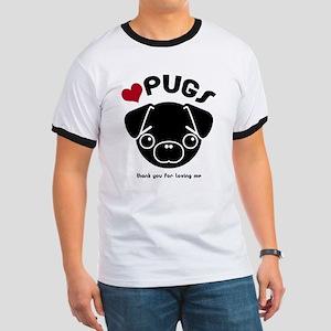 BLACK PUG Ringer T