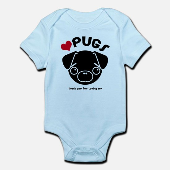 BLACK PUG Infant Bodysuit