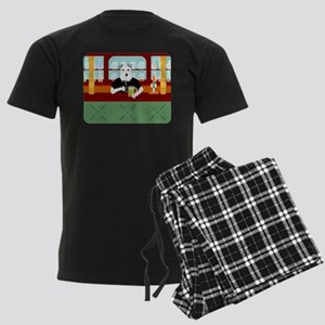 Schnauzer Beer Pub Men's Dark Pajamas