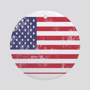 Faded American Flag Round Ornament