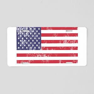 Faded American Flag Aluminum License Plate