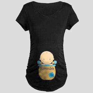 November Baby Boy Maternity Dark T-Shirt