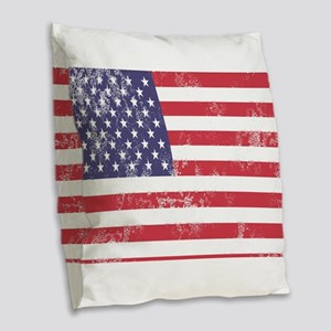 Faded American Flag Burlap Throw Pillow
