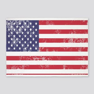 Faded American Flag 5'x7'Area Rug