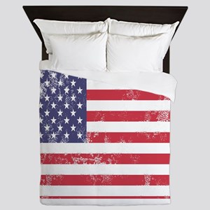 Faded American Flag Queen Duvet
