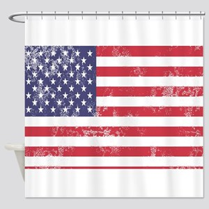 Faded American Flag Shower Curtain