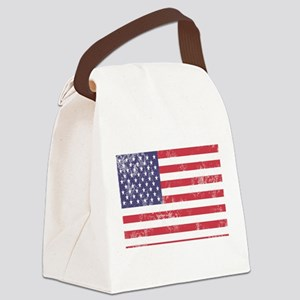 Faded American Flag Canvas Lunch Bag