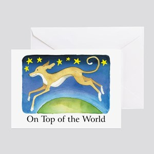 """ON TOP OF THE WORLD"" (with copy) Greeting Cards ("