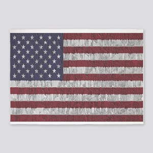 Aged American Flag 5'x7'Area Rug