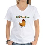 iGrowMyOwn: Chicken: Style 01A Women's V-Neck T-Sh